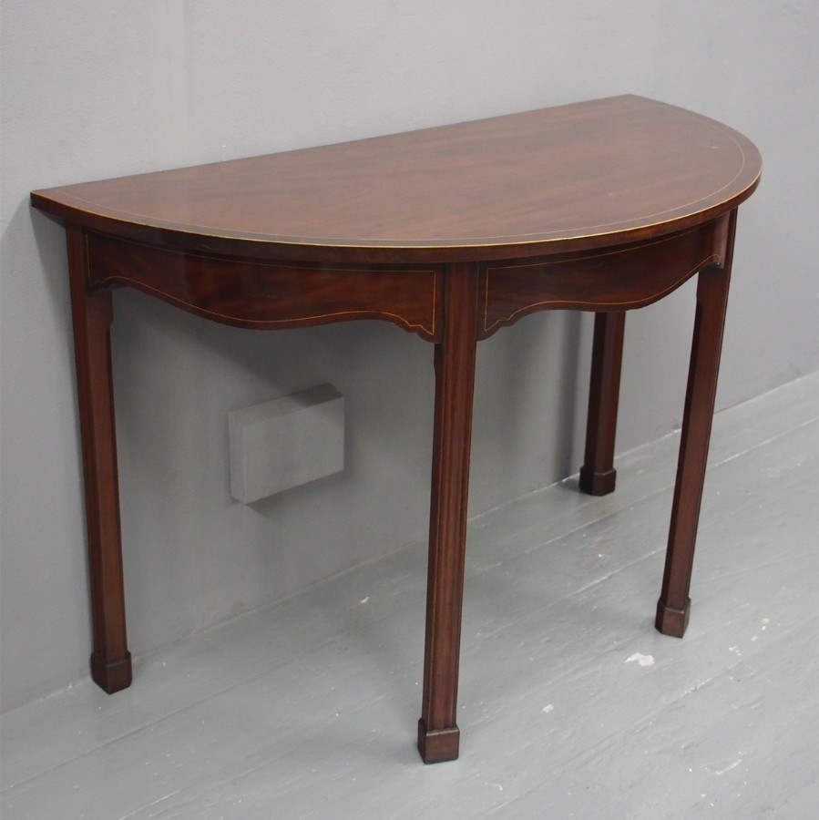 George III Inlaid Mahogany Side or Hall Table