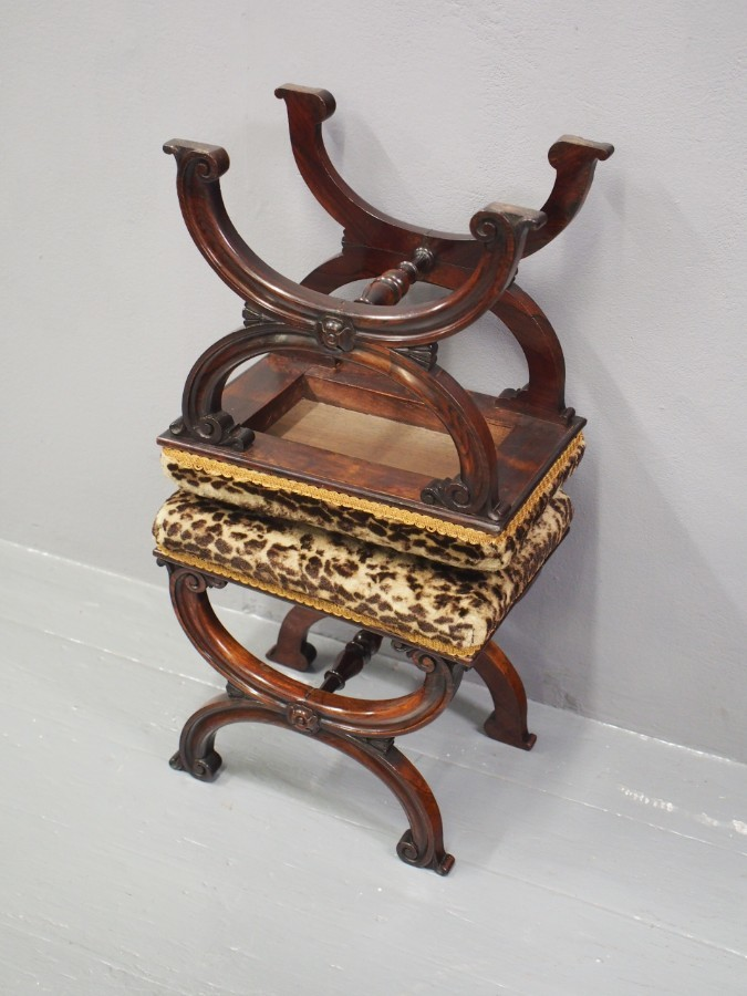 Antique Pair of Rosewood and Leopard Print Top Stools