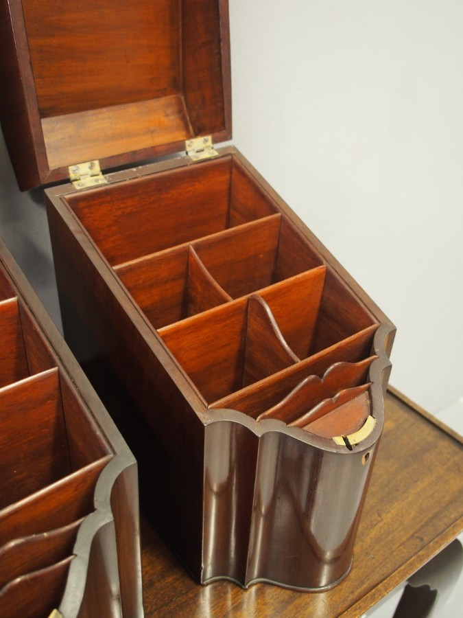 Antique Pair of George III Mahogany Inlaid Knife Boxes