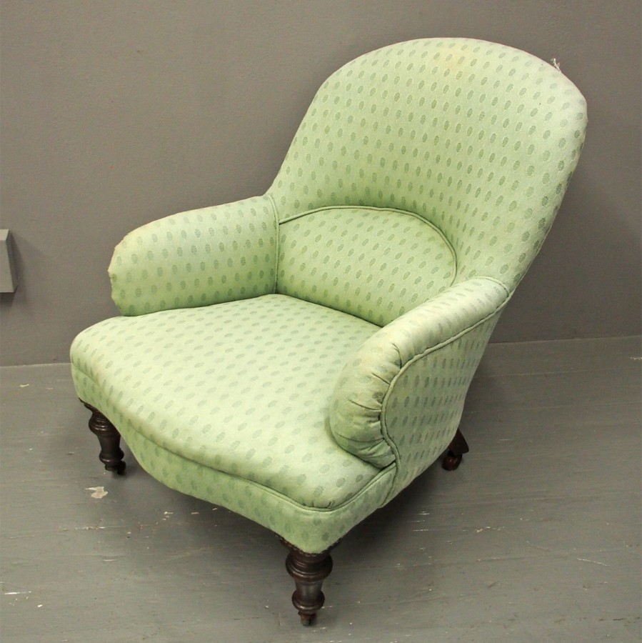 Victorian Green Upholstered Ladies Chair