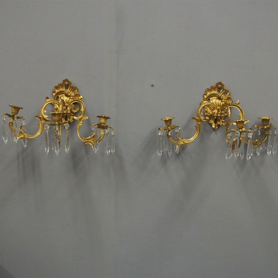 Pair of Rococo Style Ormolu Wall Sconces