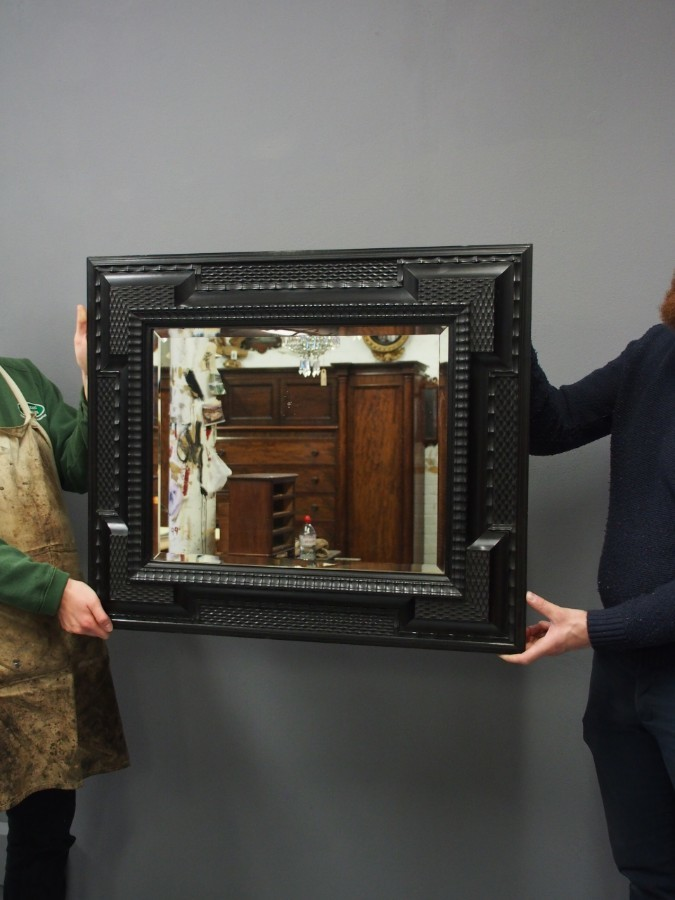 Antique  Flemish Ebonised Wall Mirror