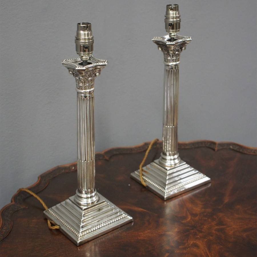 Pair of Silver Plated Corinthian Lamps