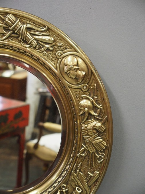 Antique Circular Brass Embossed Wall Mirror