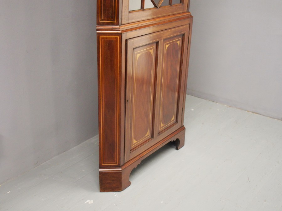 Antique Georgian Style Inlaid Mahogany Corner Cupboard