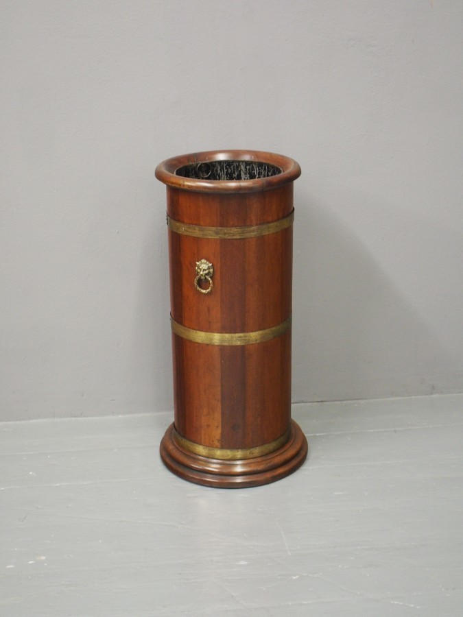 Antique Brass Banded Mahogany Stick Stand