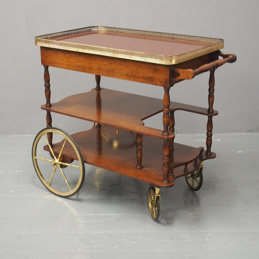 Retro Mahogany and Brass Drinks Trolley