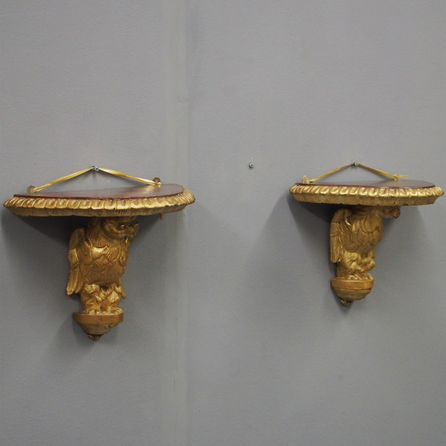 Pair of Carved Bird Wall Brackets