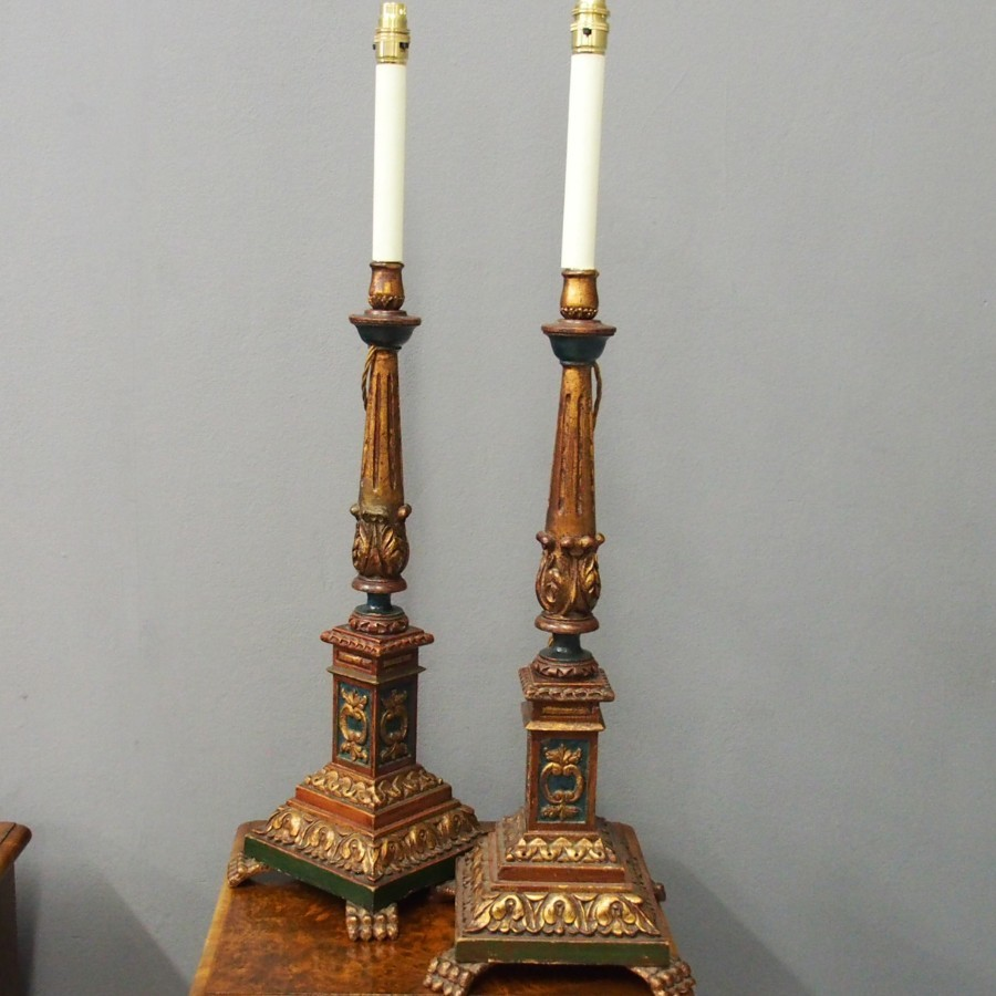 Carved and Painted Italian Wood Candlesticks