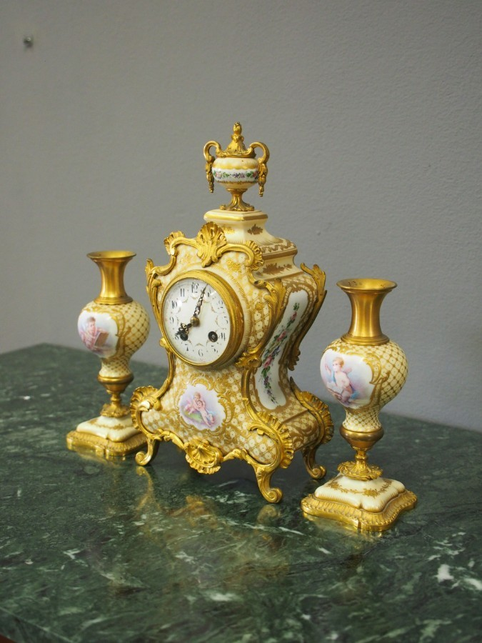 Antique French Painted Porcelain Clock Garniture