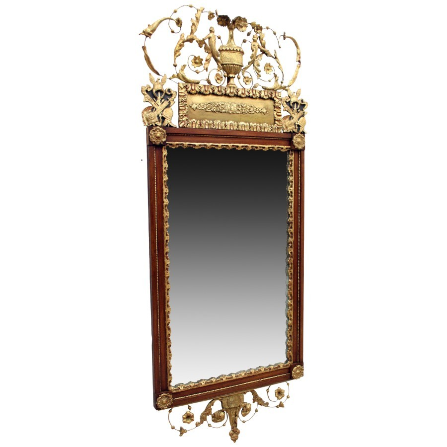Swedish Mahogany and Gilded Wood Mirror