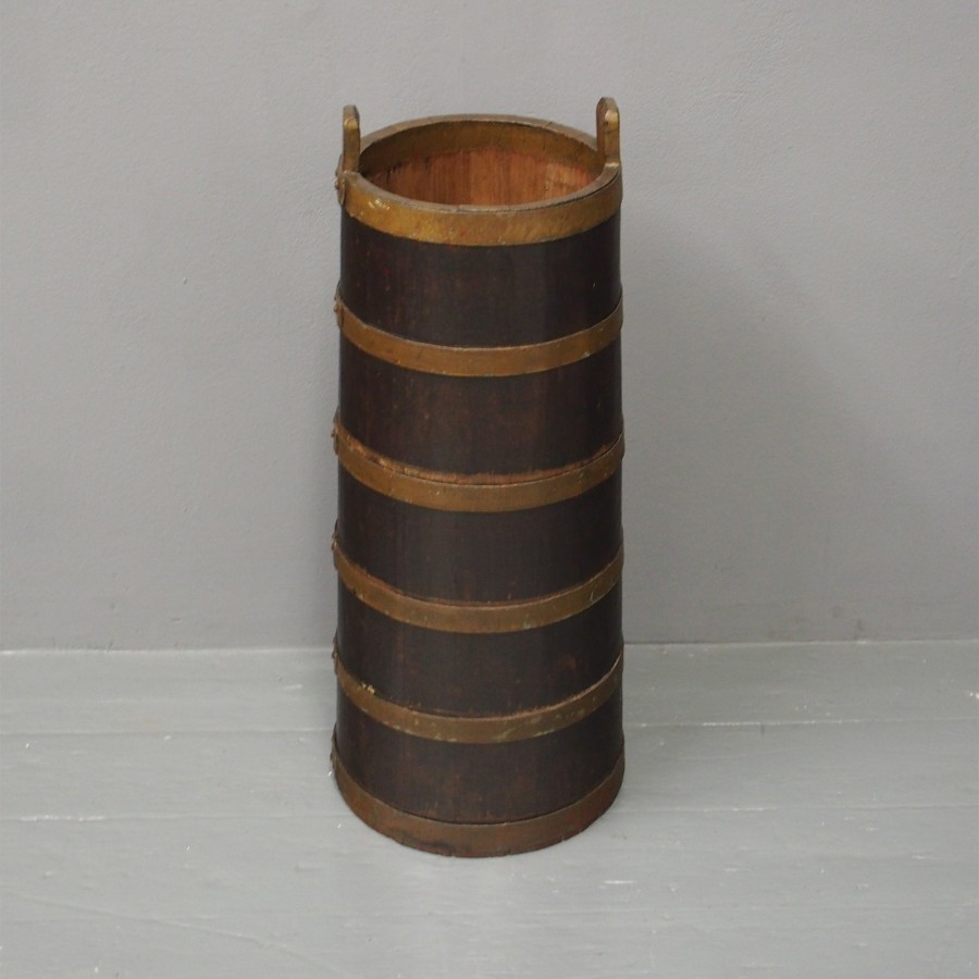 Teak and Metal Bound Barrel or Stick Stand