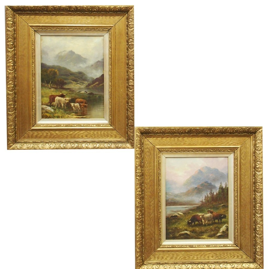 Pair of Oil Paintings of Highland Cattle, by A Taylor