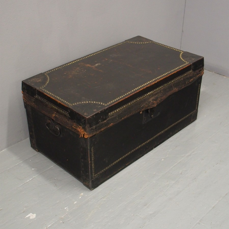 George III Leather and Brass Blanket Box
