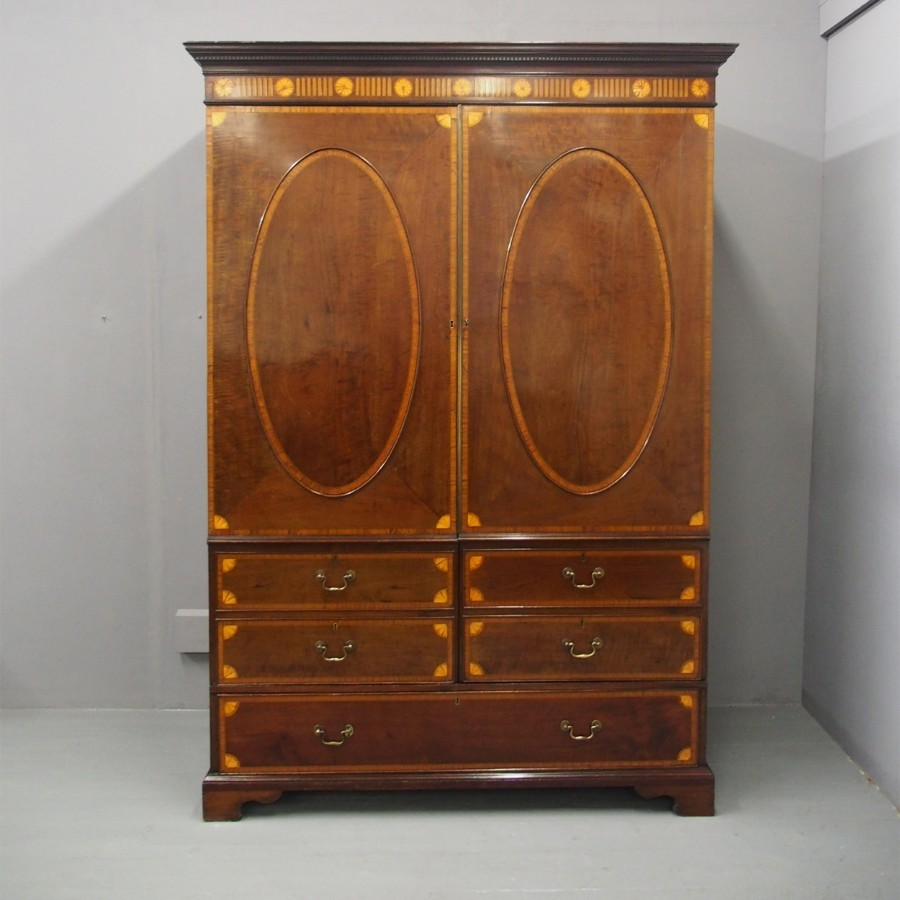Georgian Mahogany and Inlaid Linen Press