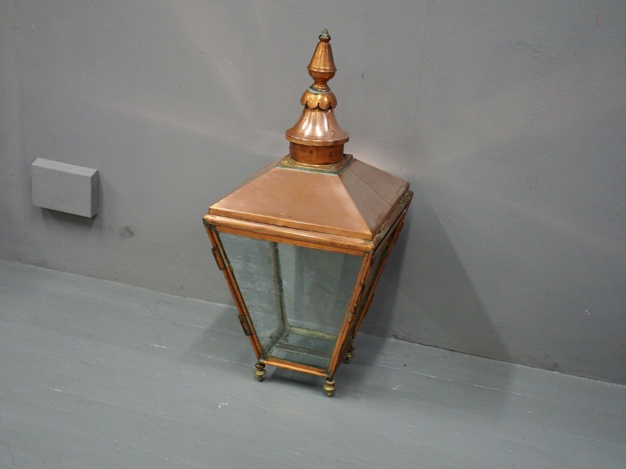 Antique Victorian Copper Gas Street Lamp