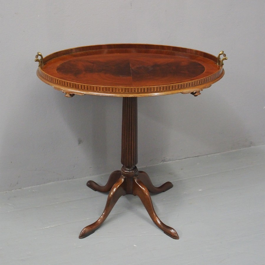 Victorian Inlaid Mahogany Tray on Stand