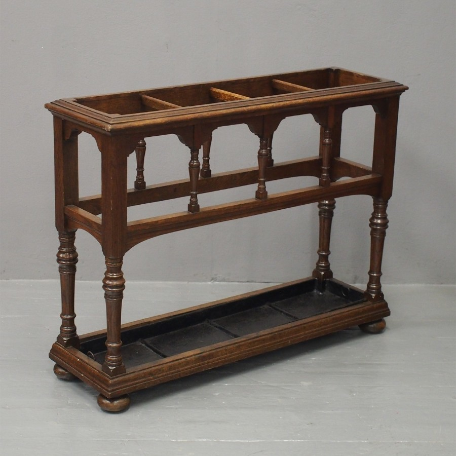 Victorian Gothic Influence Oak Stick Stand