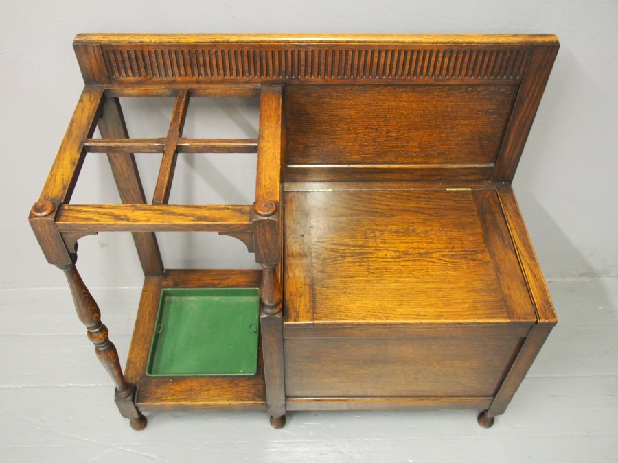 Antique Oak Combination Stick Stand and Bench