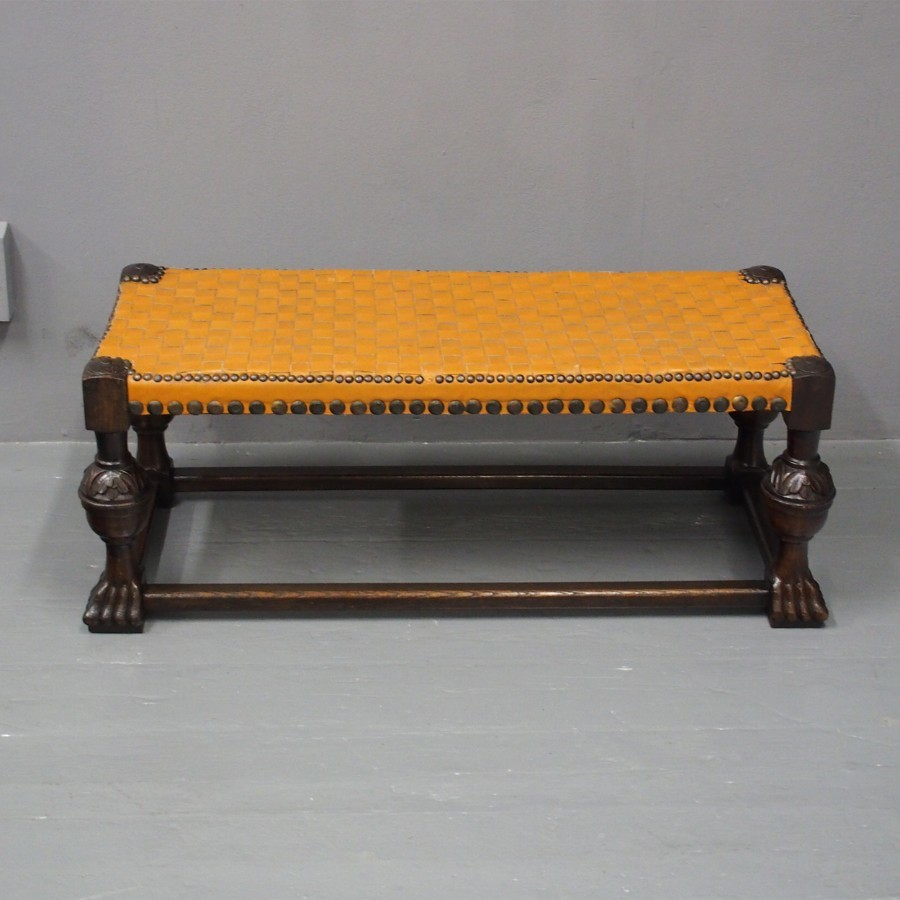 Jacobean Style Oak and Leather Low Stool