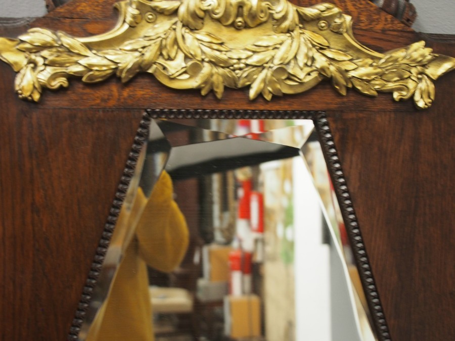 Antique  French Oak Pier Mirror