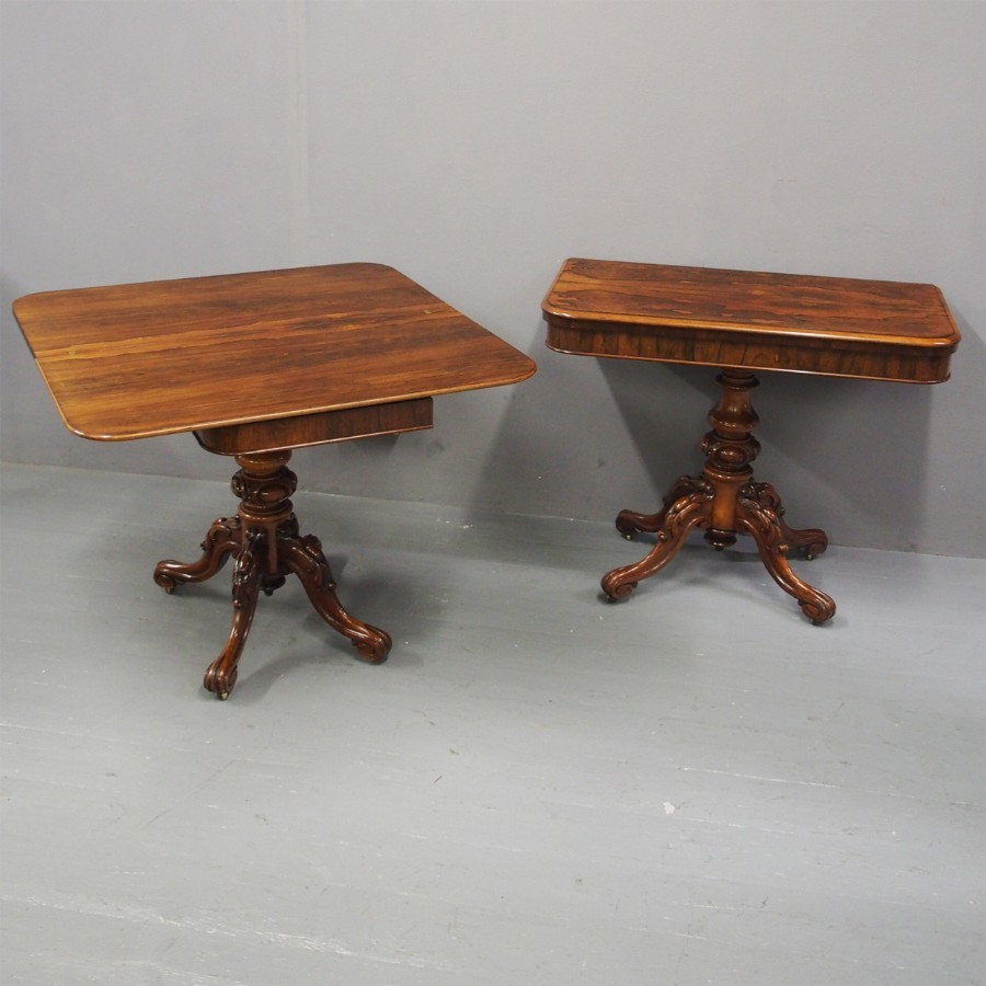 Victorian Rosewood Foldover Tea Tables