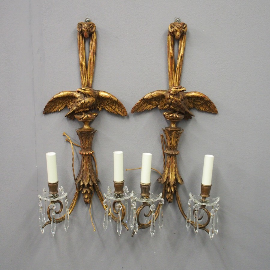 Pair of Carved Giltwood Adams Style Sconces