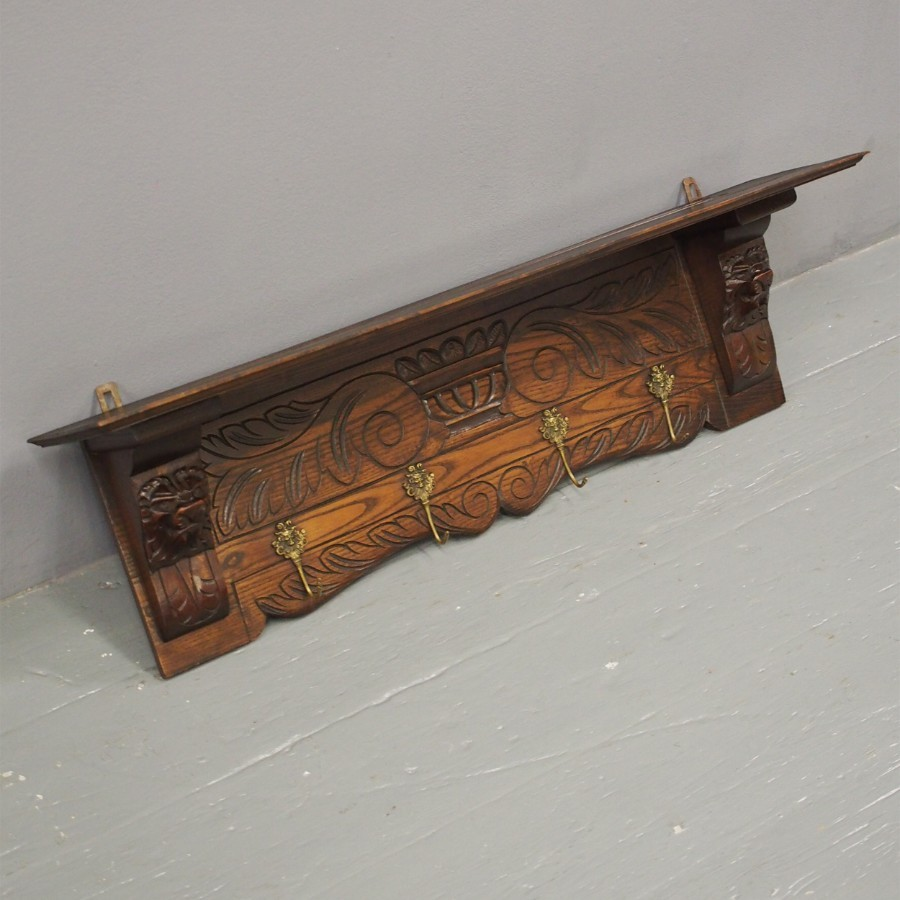 Edwardian Dark Oak Coat Rack