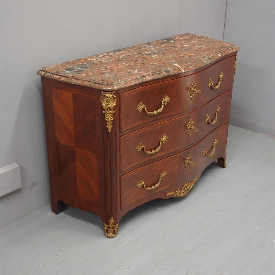 Louis XV Style Walnut Commode with Marble Top