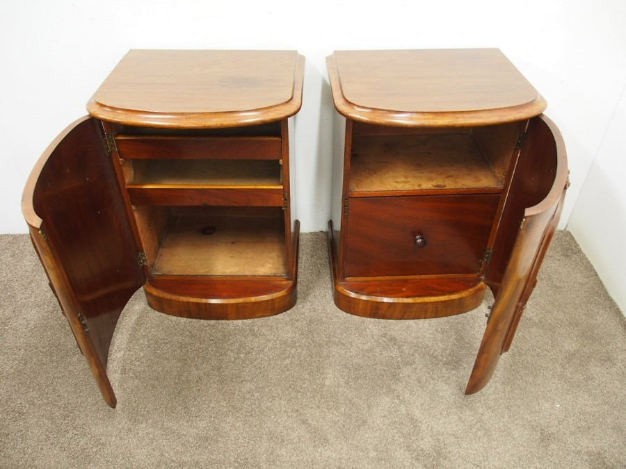 Antique Pair of Victorian Bow Fronted Bedsides or Pedestals
