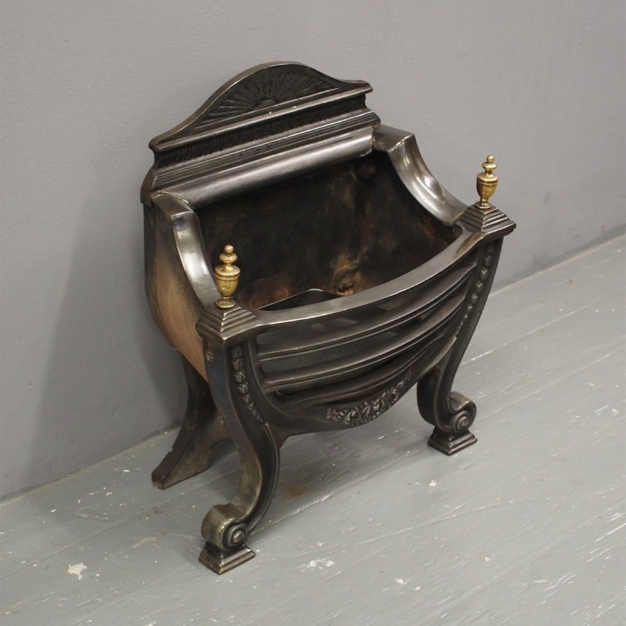Adams Style Cast Iron and Brass Fire Basket