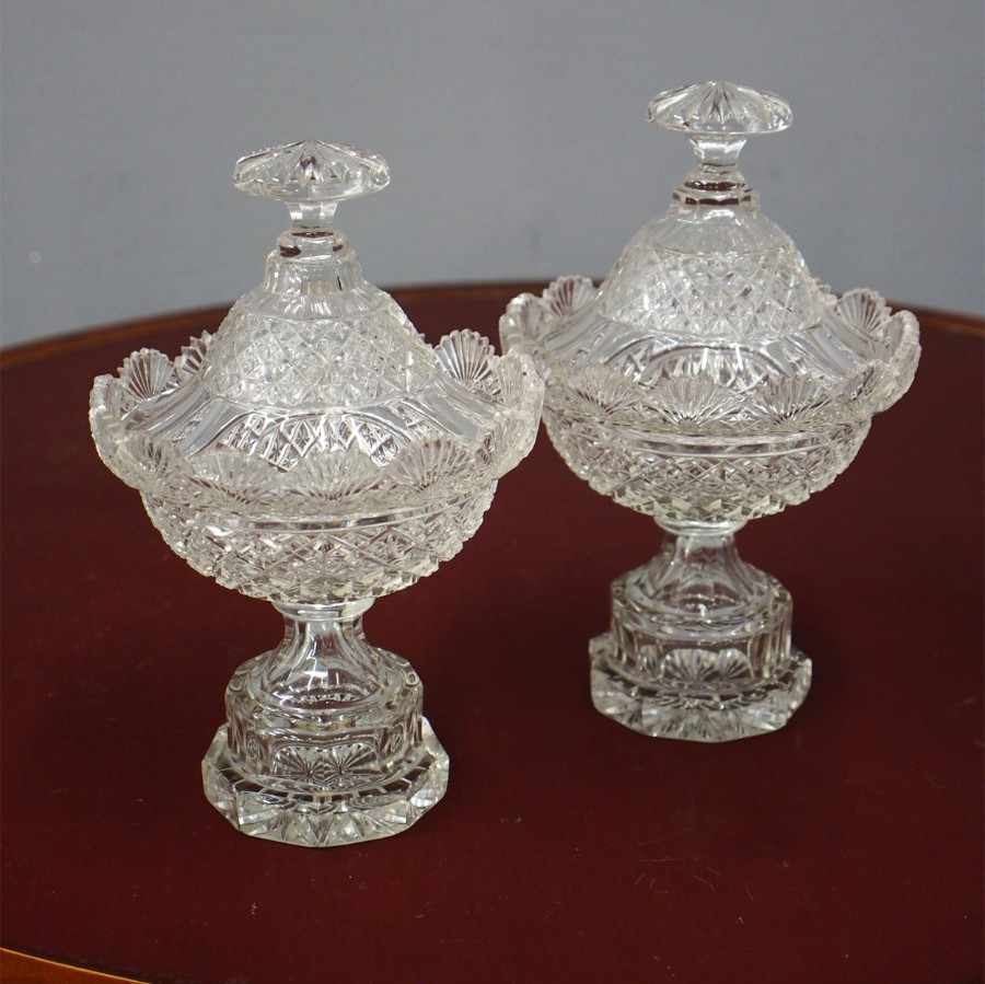 Pair of 19th Century Crystal Sweetmeat Dishes