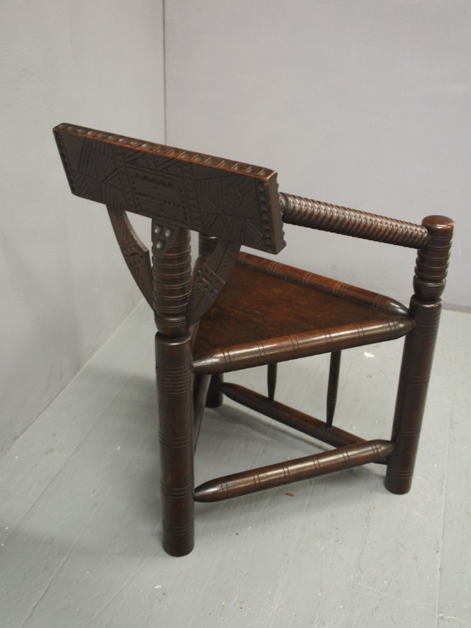 Antique Charles II Style Oak Turners Chair