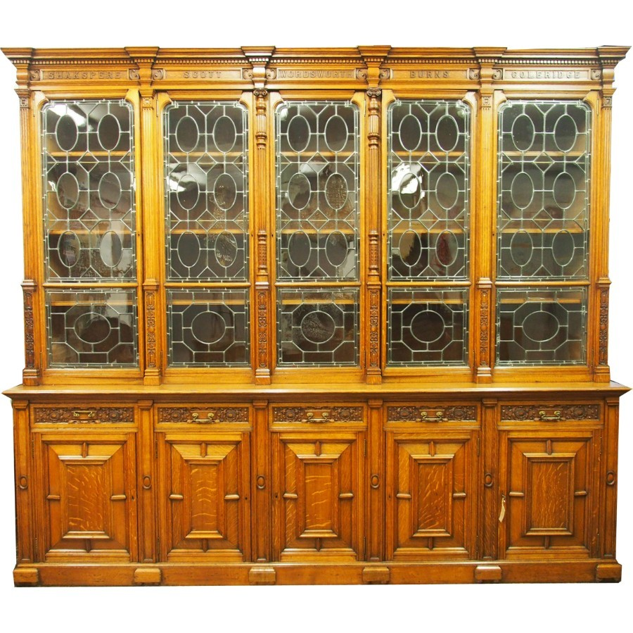 Oak 5 Door Cabinet Bookcase with British Authors Names