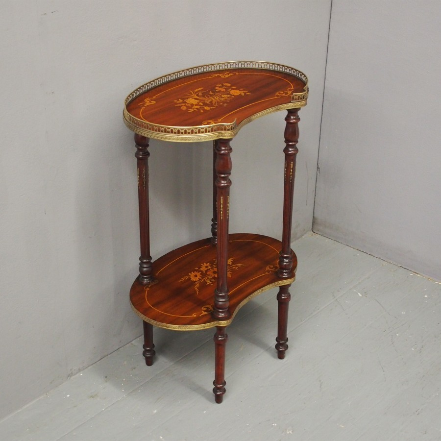 Antique American Inlaid Kidney Shape Etagere