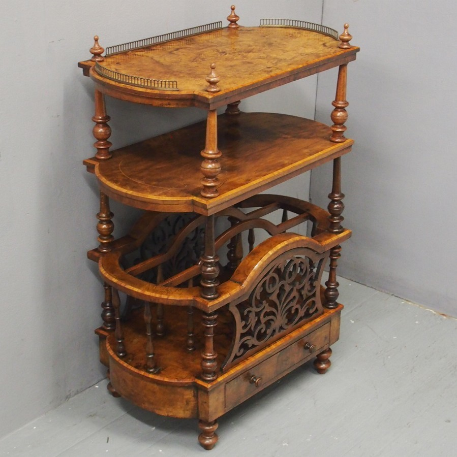 Victorian Inlaid Burr Walnut Whatnot or Canterbury