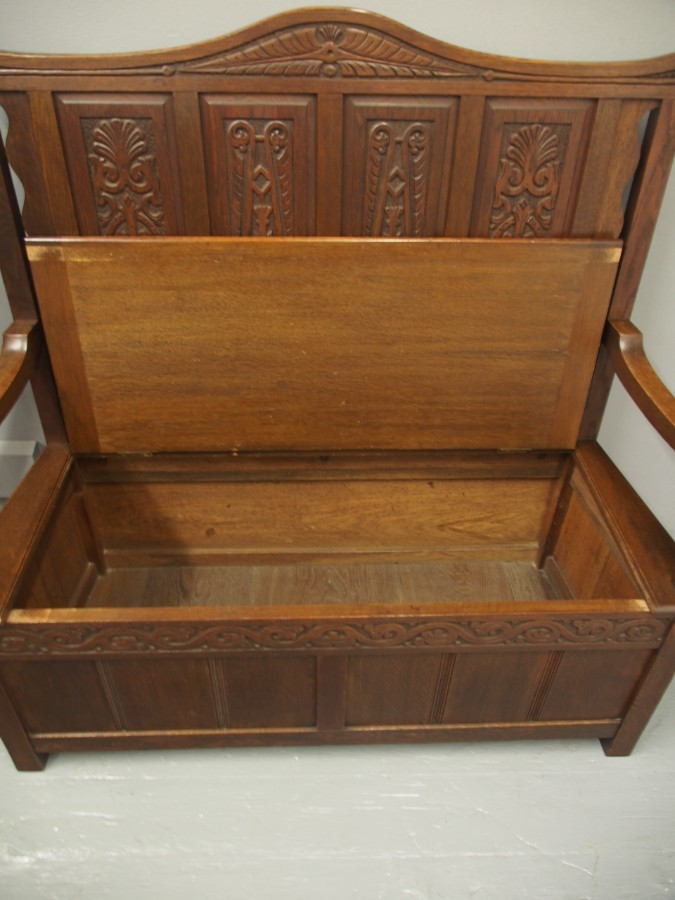 Antique Carved Oak Hall Settle