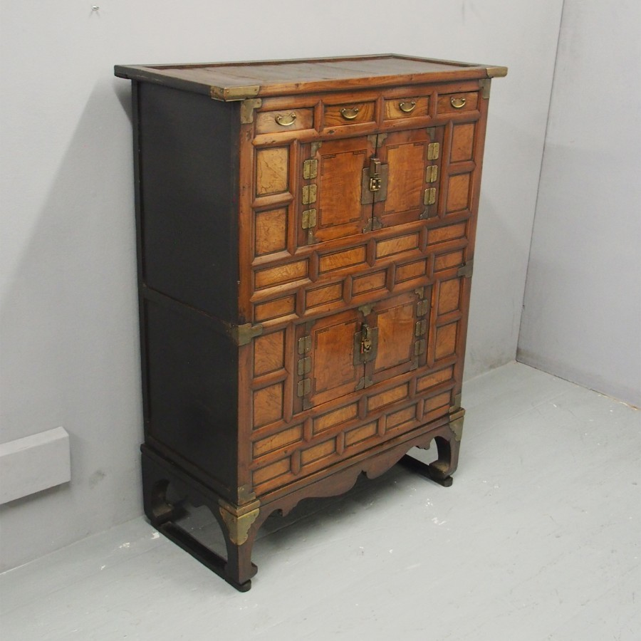 Korean Elm and Hardwood Tansu Cabinet
