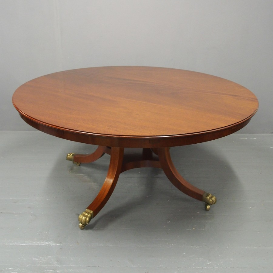 Mahogany Circular Dining Table with Concentric Leaves