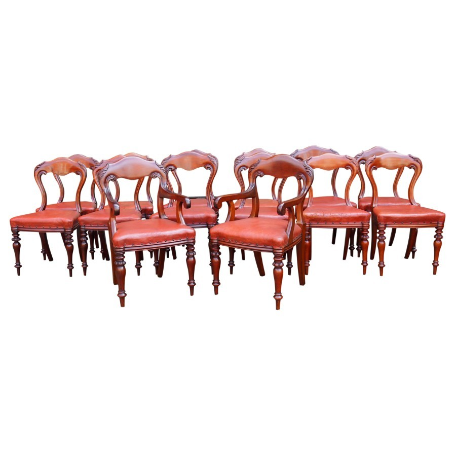 Set of 14 Scottish Mahogany Dining Chairs