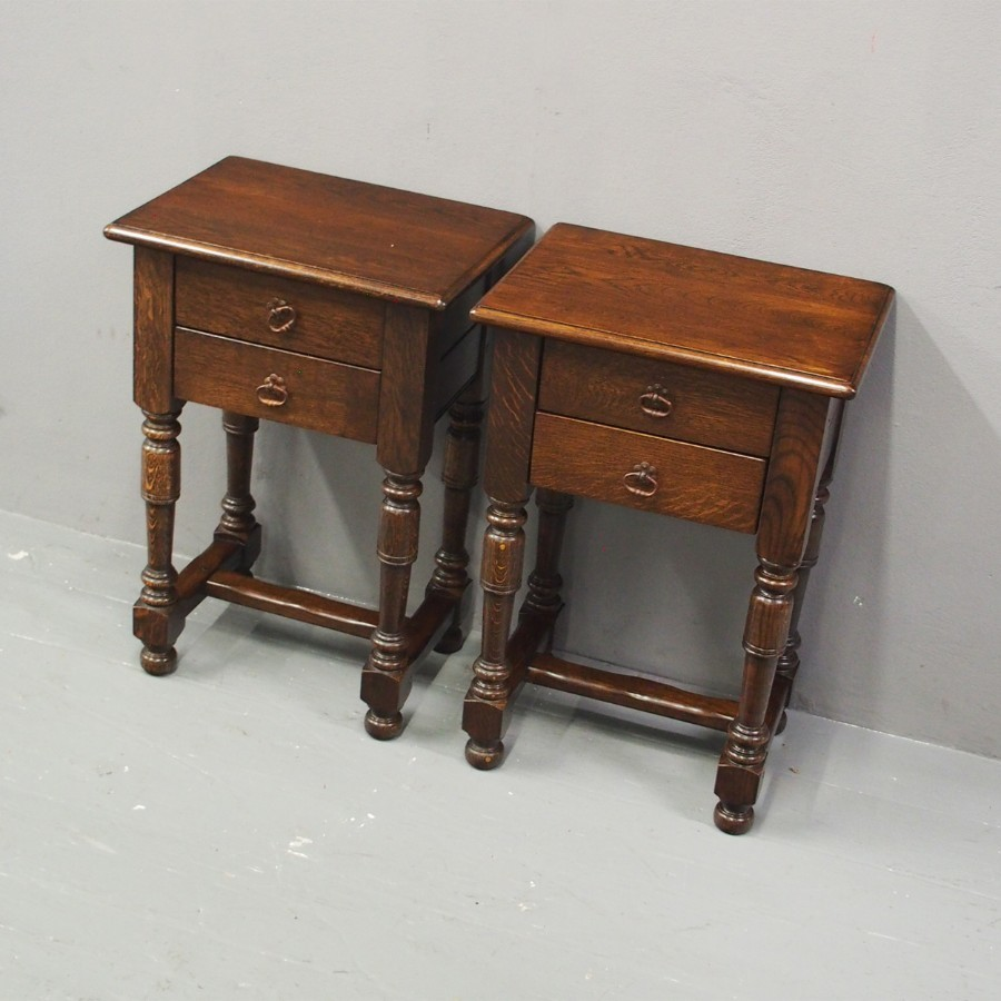 Pair of Jacobean Style Oak Tables / Bedside Tables