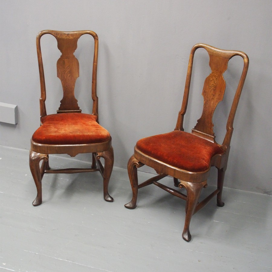 Pair of Queen Anne Walnut Chairs