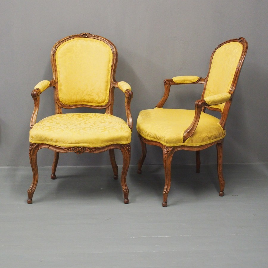 Pair of French Louis XV Style Walnut and Beech Armchairs