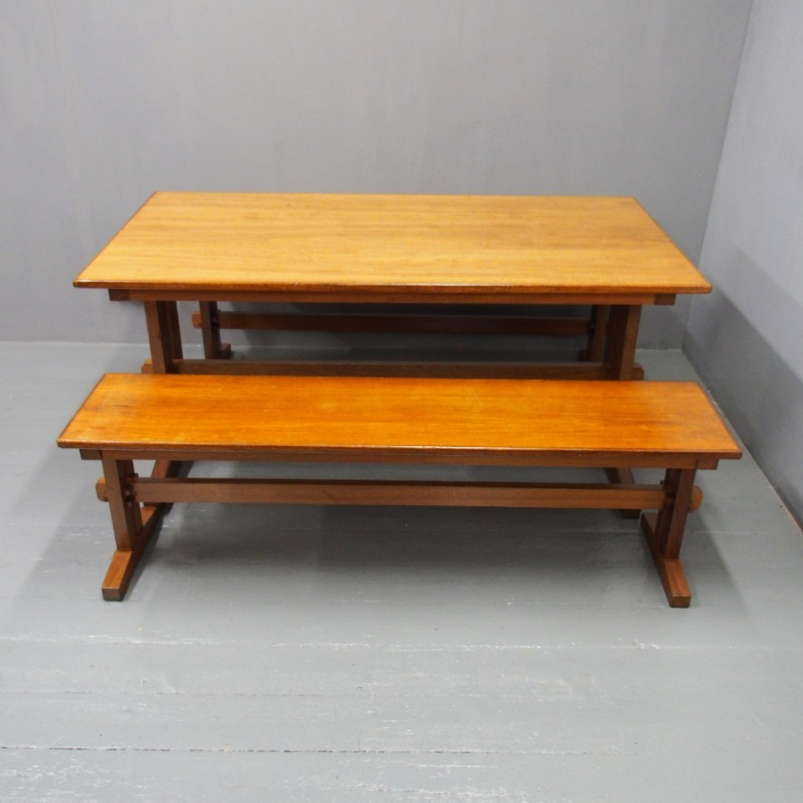 Arts and Crafts Influence Teak Table and Benches