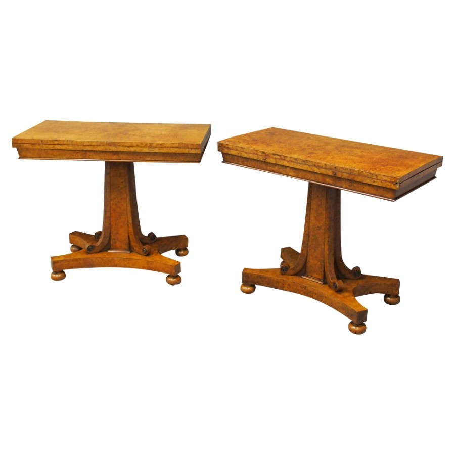 Pair of Scottish George IV Burr Elm Card Tables