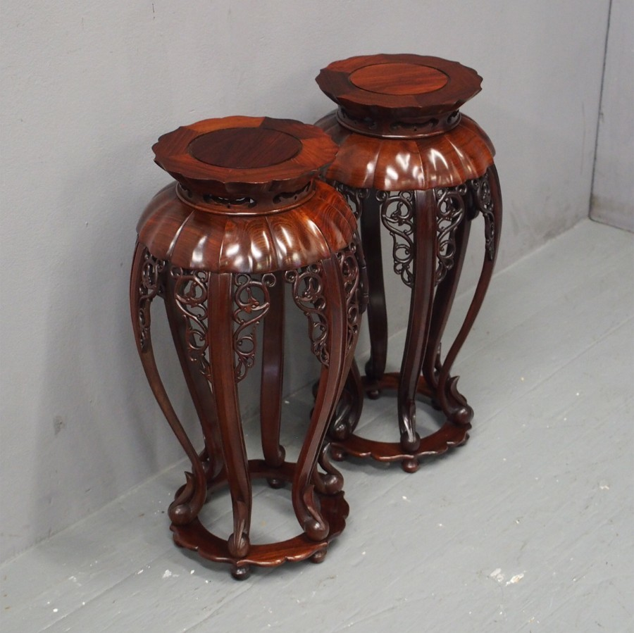 Pair of Chinese Rosewood Plant Stands
