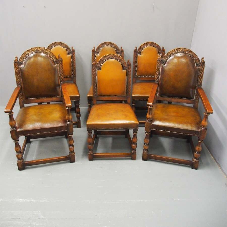 Set of 6 Carved Oak and Leather Dining Chairs