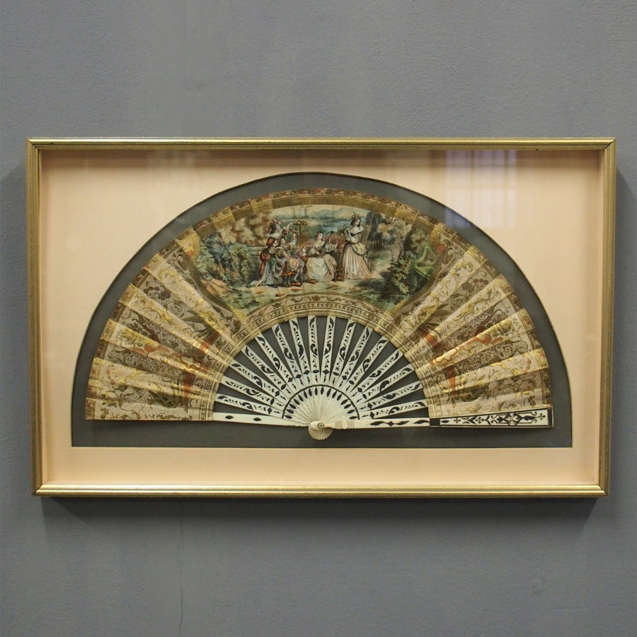 Continental Paper and Inlaid Bone Fan