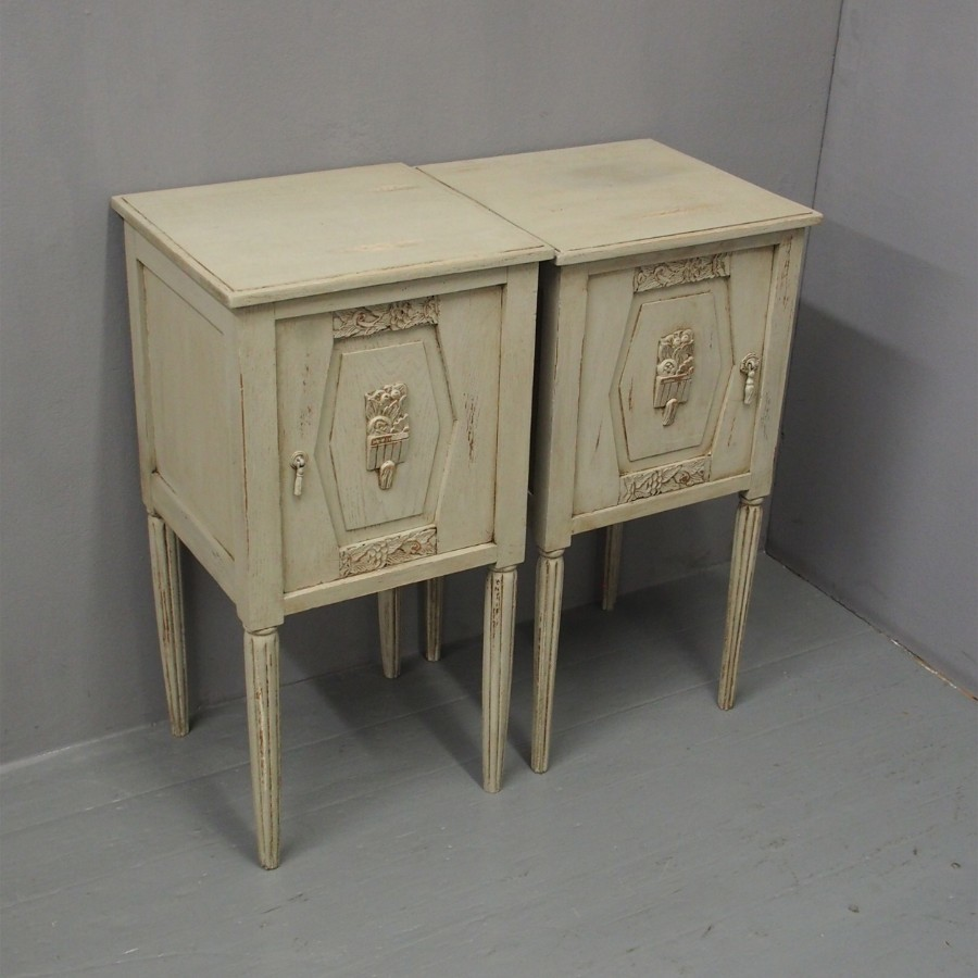 Pair of Painted Oak French Bedsides