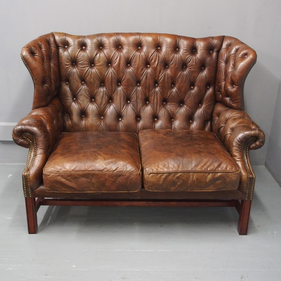 Brown Leather 2 Seater Wing Back Sofa